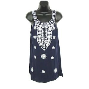 INC Intl Concepts Navy Blue Embroidered Tank Sz L